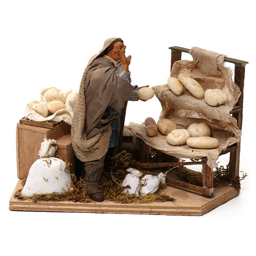 Movimento presepe venditore di pane 12 cm 5