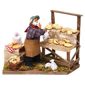 Presépio Napolitano: Movimento vendedor de pão para presépio figuras altura média 12 cm