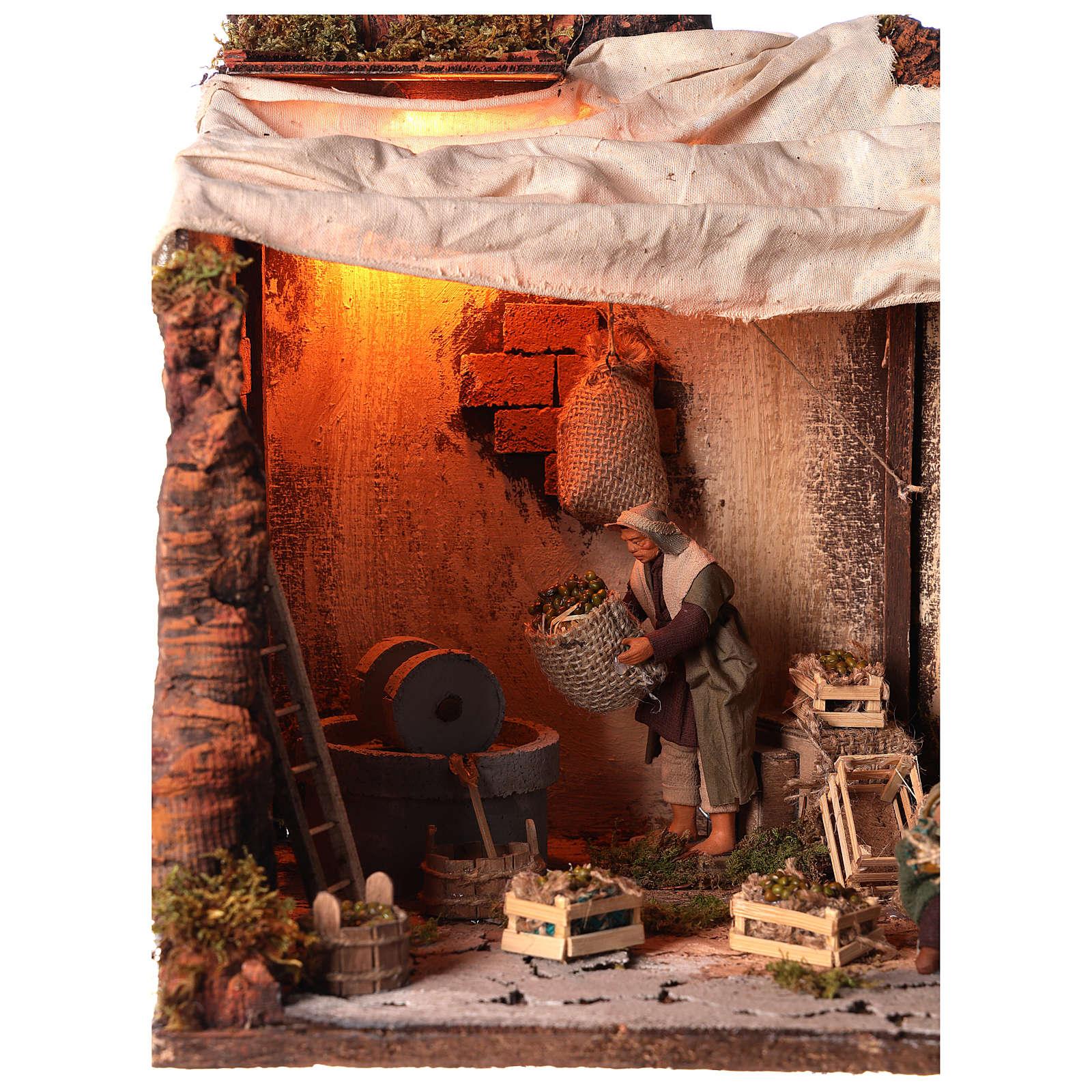 Animated nativity scene, oil mill scene 12 cm 4