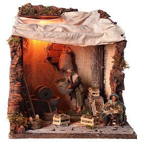 Animated nativity scene, oil mill scene 12 cm s1