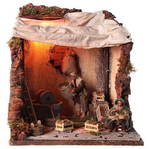 Animated nativity scene, oil mill scene 12 cm 1