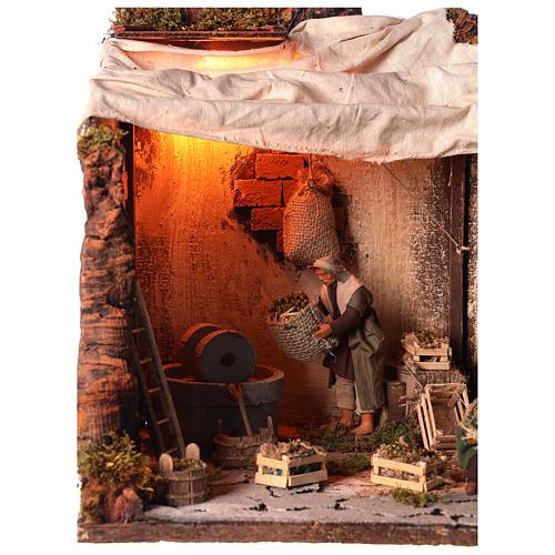 Animated nativity scene, oil mill scene 12 cm 2