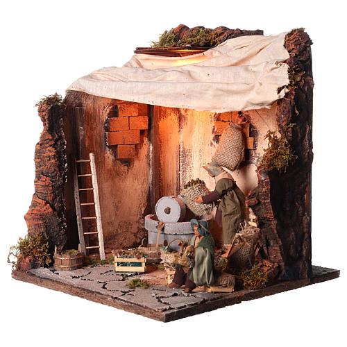 Animated nativity scene, oil mill scene 12 cm 3