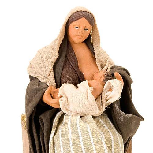 Santon animé mère qui allaite crèche 14 cm 3