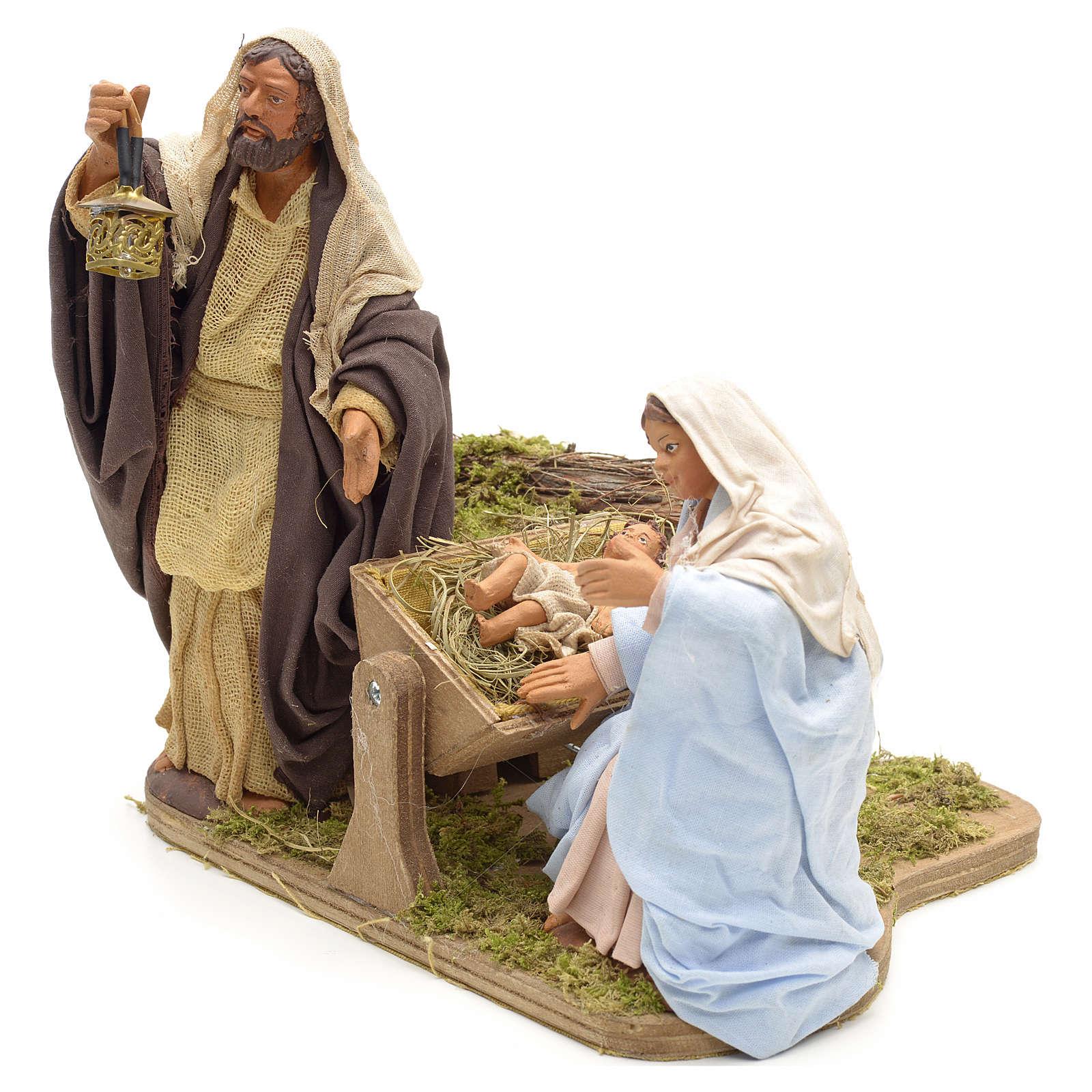 Sainte Famille animée crèche napolitaine 14 cm 4