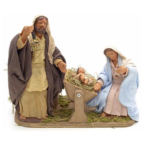 Sainte Famille animée crèche napolitaine 14 cm 1