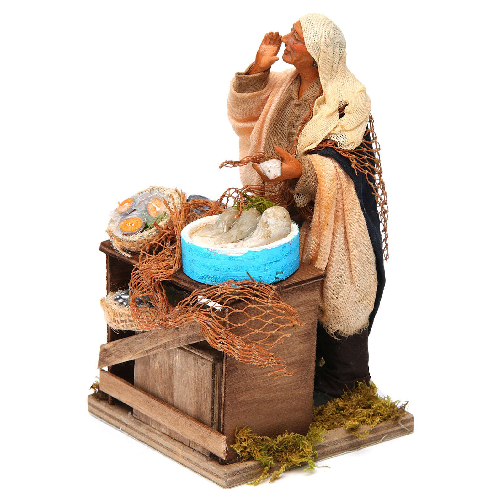 Animated nativity scene, fishmonger 14 cm 4