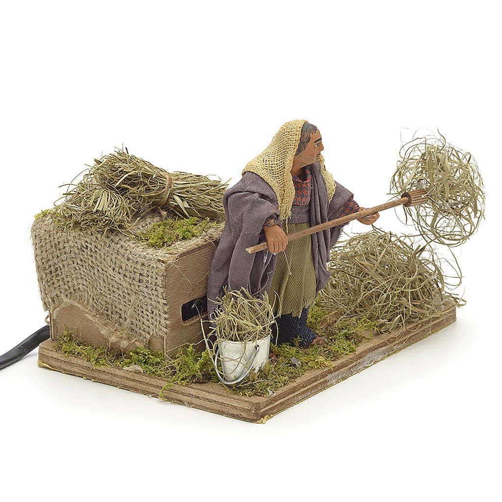 Animated Nativity scene figurine, peasant with hay 10 cm 4