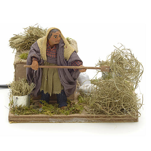 Animated Nativity scene figurine, peasant with hay 10 cm 1