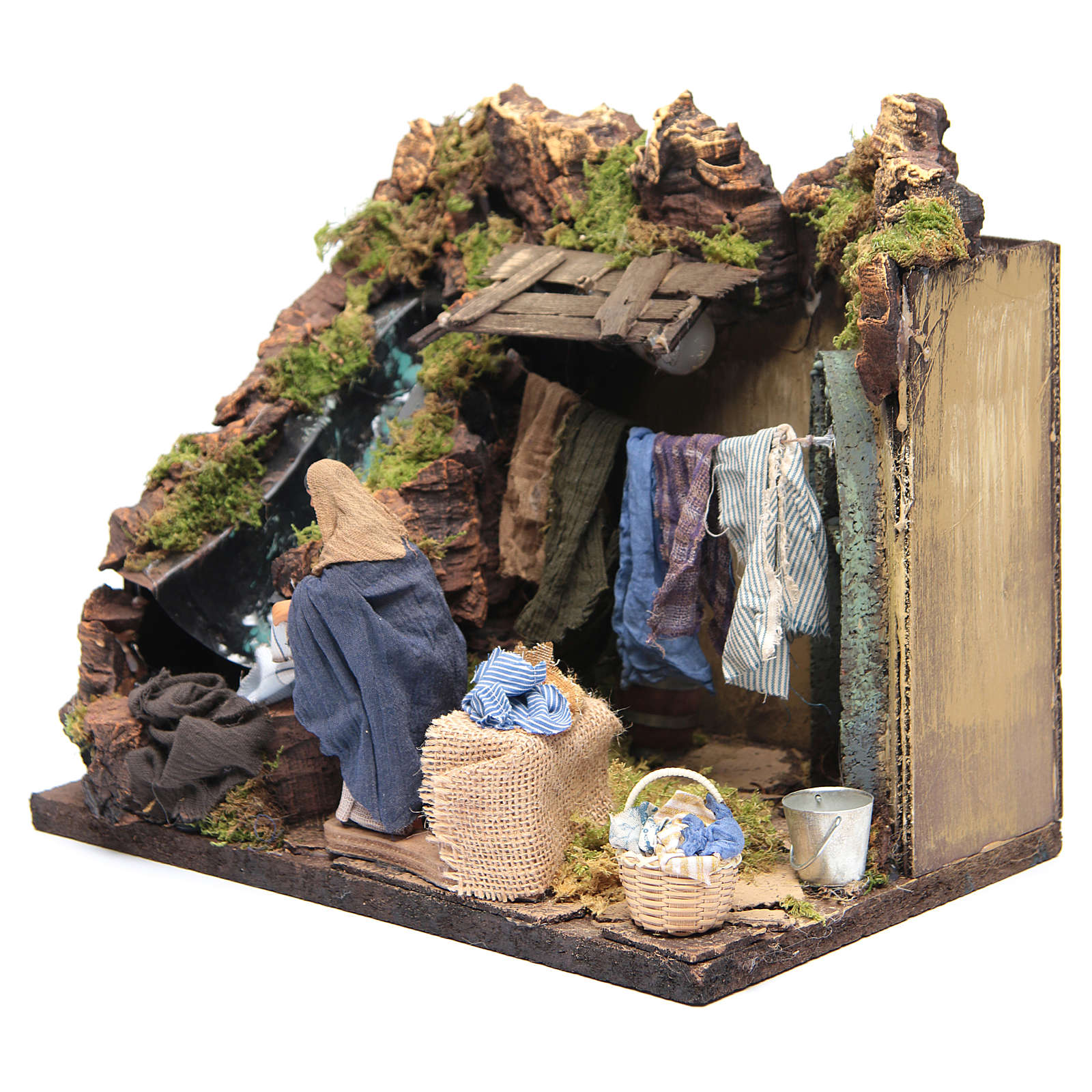 Animated Nativity scene figurine, laundress 12 cm 4