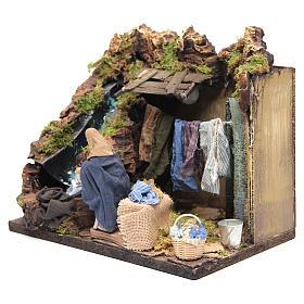 Animated Nativity scene figurine, laundress 12 cm s3