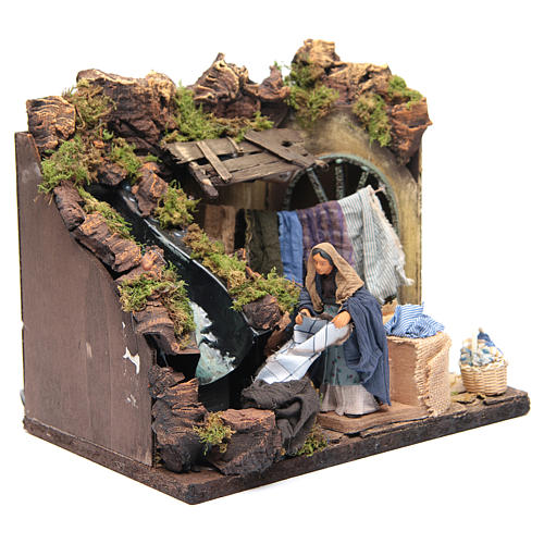 Animated Nativity scene figurine, laundress 12 cm 2