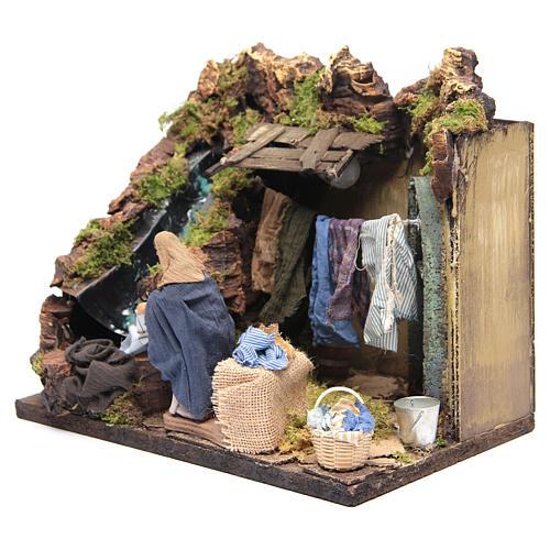 Animated Nativity scene figurine, laundress 12 cm 3