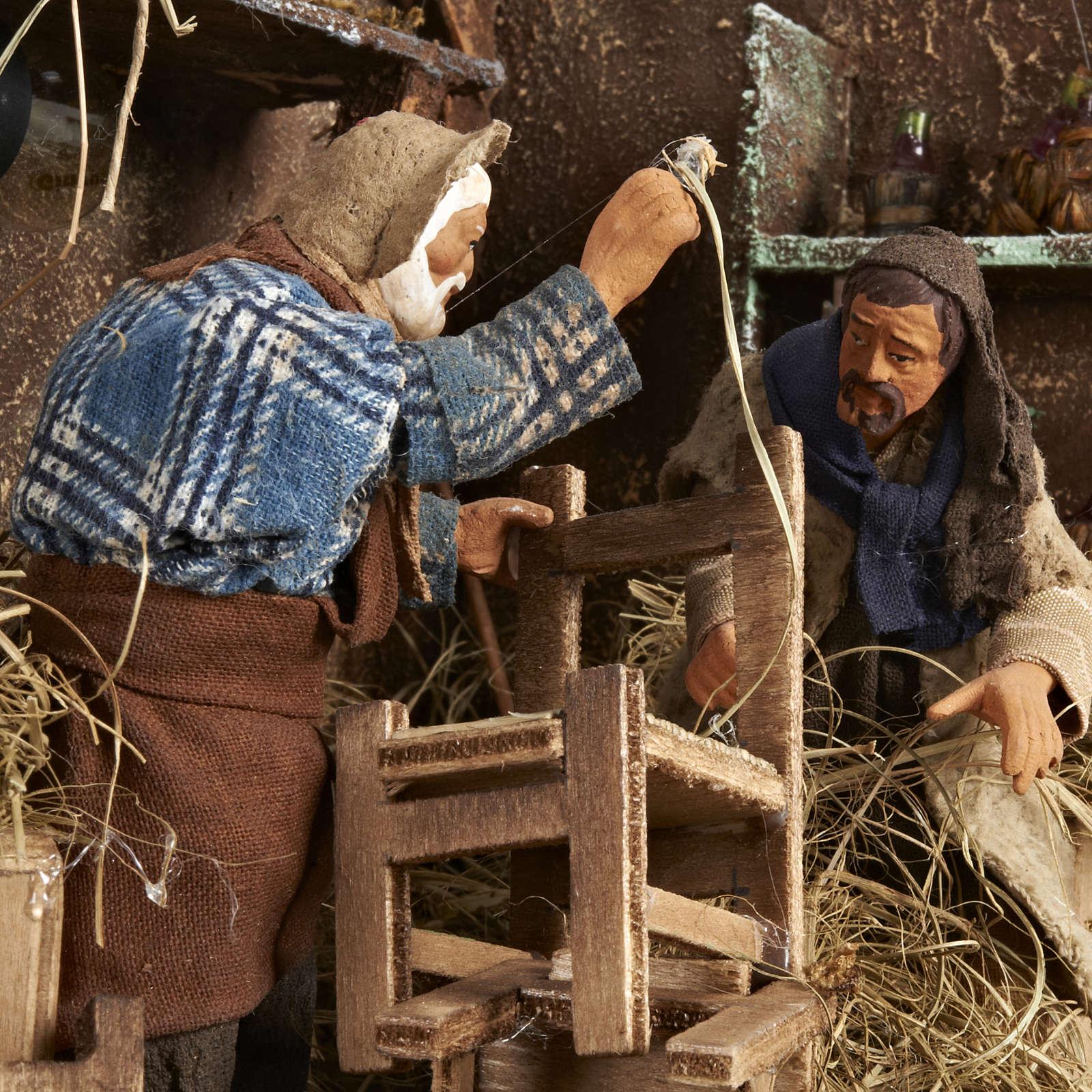 Animated Nativity scene set, chair repairmen 12 cm 4