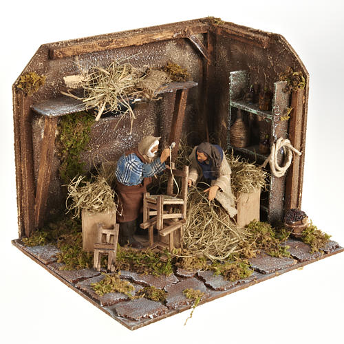 Animated Nativity scene set, chair repairmen 12 cm 1