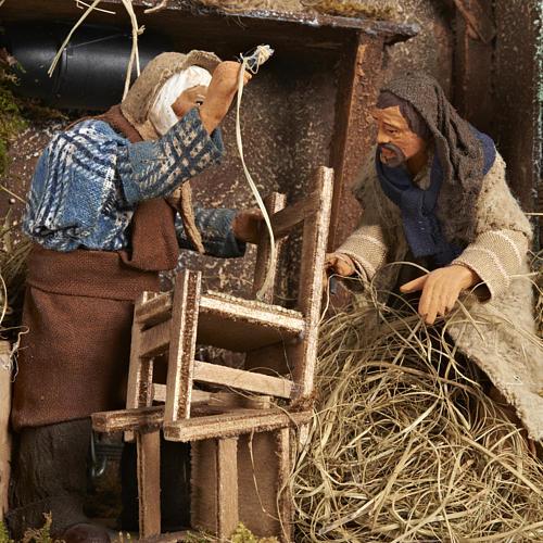 Animated Nativity scene set, chair repairmen 12 cm 2