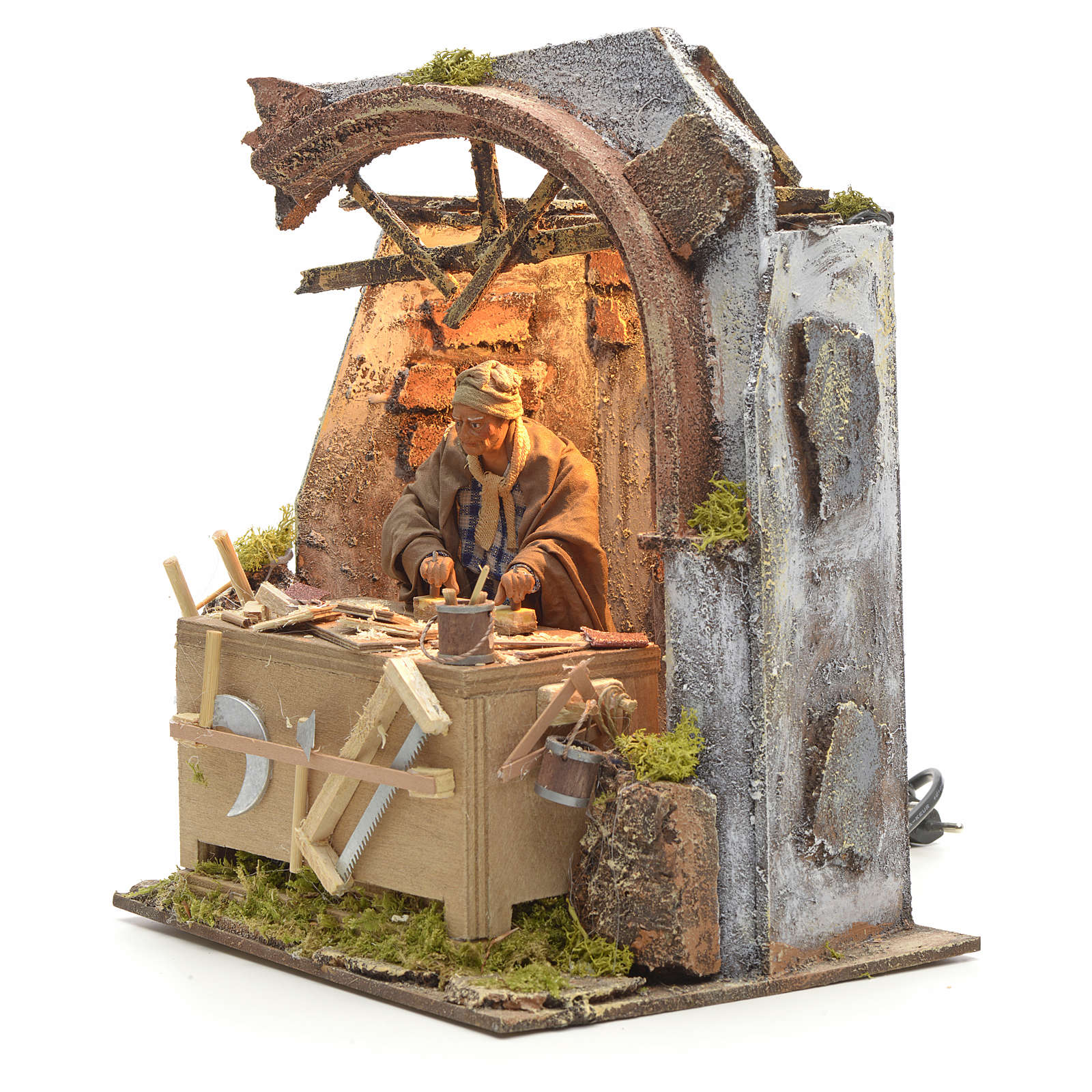 Animated Nativity scene set, carpenter 14 cm 4