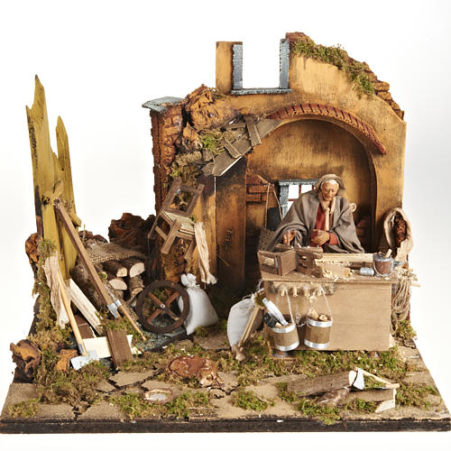Animated Nativity scene set, carpenter 14 cm 1