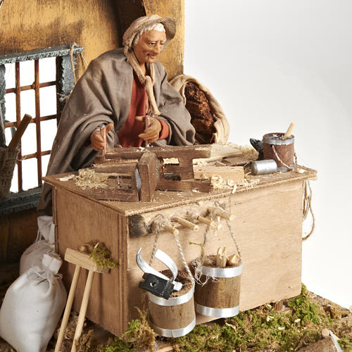 Animated Nativity scene set, carpenter 14 cm 3