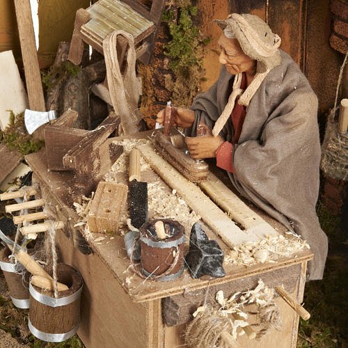 Animated Nativity scene set, carpenter 14 cm 6