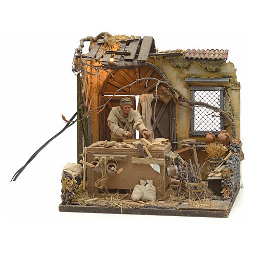 Animated Nativity scene set, carpenter 14 cm 10