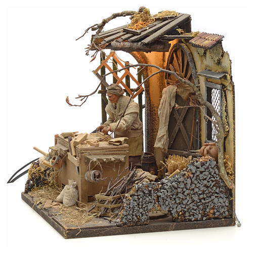 Animated Nativity scene set, carpenter 14 cm 11