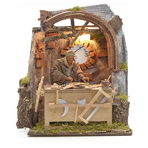 Animated Nativity scene set, carpenter 14 cm 13