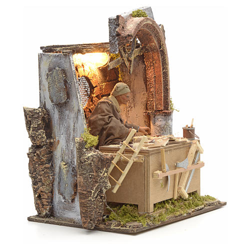 Animated Nativity scene set, carpenter 14 cm 14