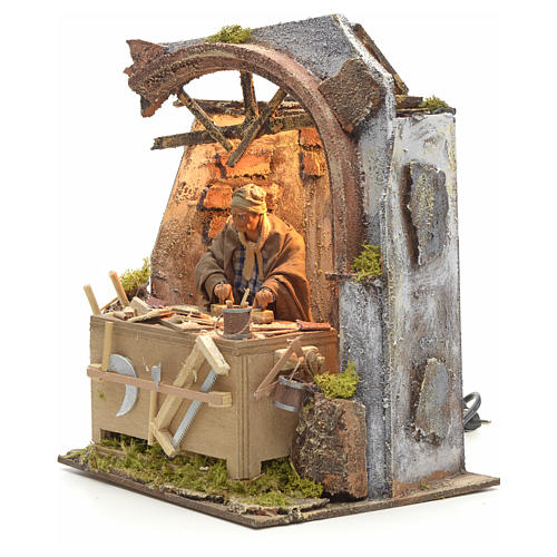 Animated Nativity scene set, carpenter 14 cm 15