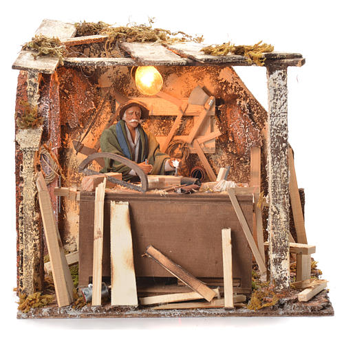Animated Nativity scene set, carpenter 14 cm 17