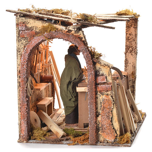 Animated Nativity scene set, carpenter 14 cm 18