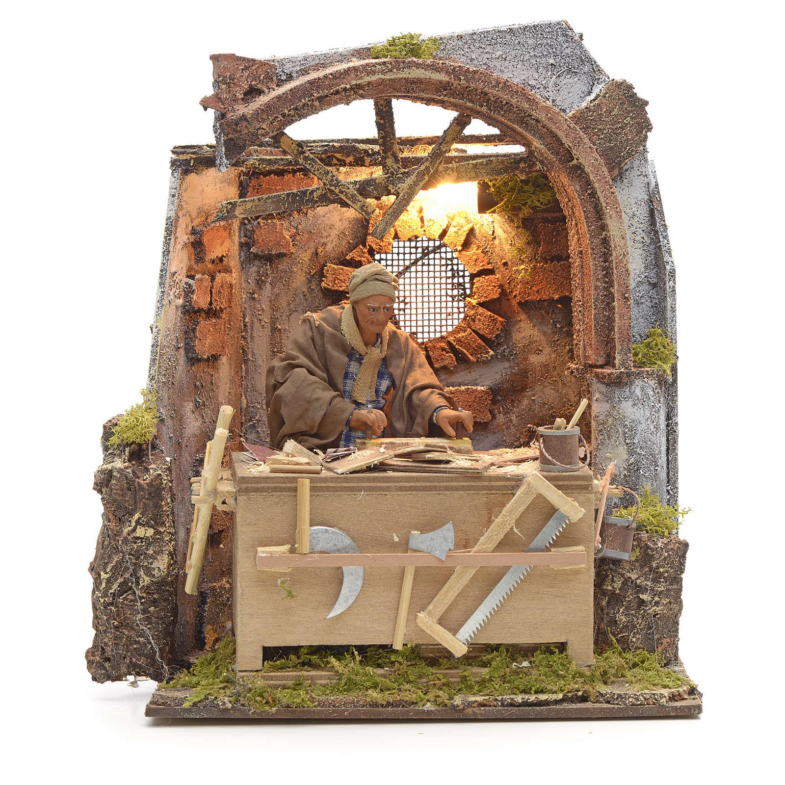Scena falegname 14 cm movimento terracotta 4