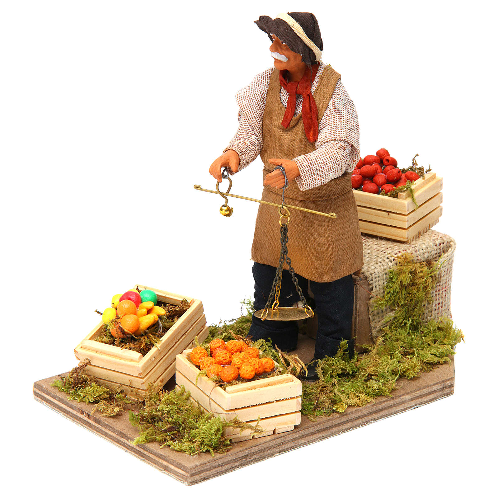 Animated Nativity scene figurine, greengrocer with scales 14 cm 4