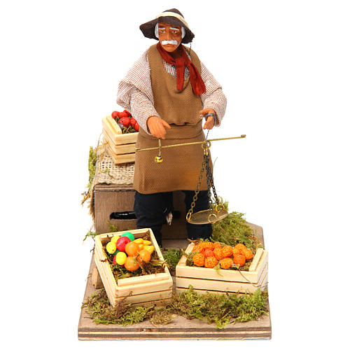 Animated Nativity scene figurine, greengrocer with scales 14 cm 1