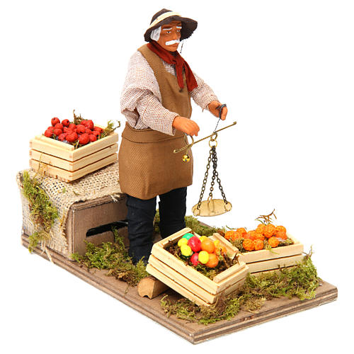 Animated Nativity scene figurine, greengrocer with scales 14 cm 3