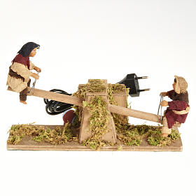 Animated Nativity scene figurines,  children on seesaw 14 cm s1
