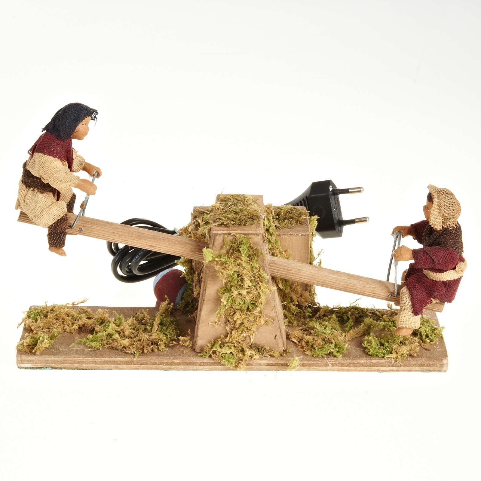 Santons animés, enfants sur balançoire crèche 14 cm 4