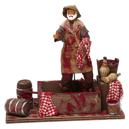 Animated Nativity scene figurine,  grape stomping man 14 cm 1