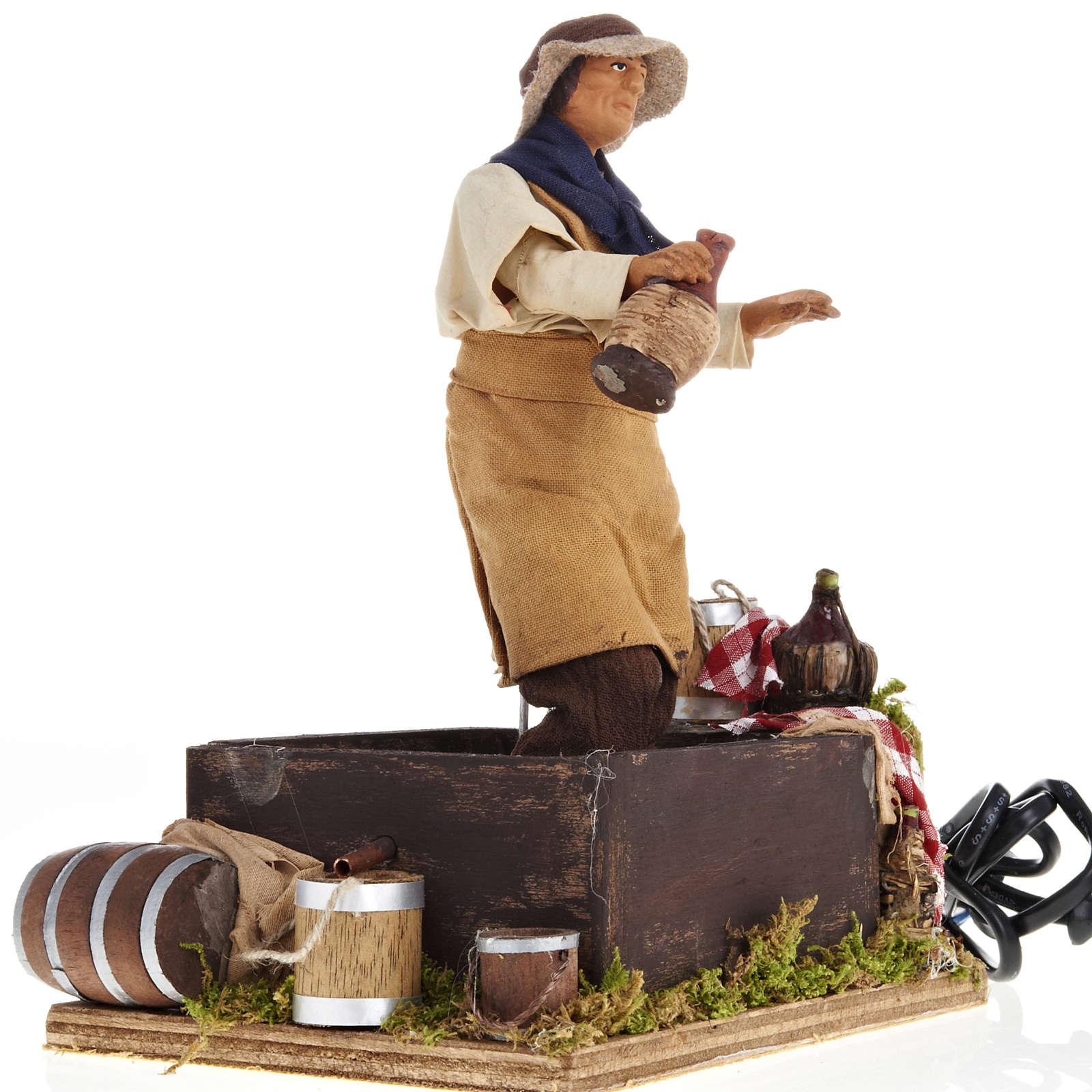 Animated Nativity scene figurine,  grape stomping man 14 cm 4