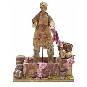 Animated Nativity scene figurine,  grape stomping man 14 cm s11