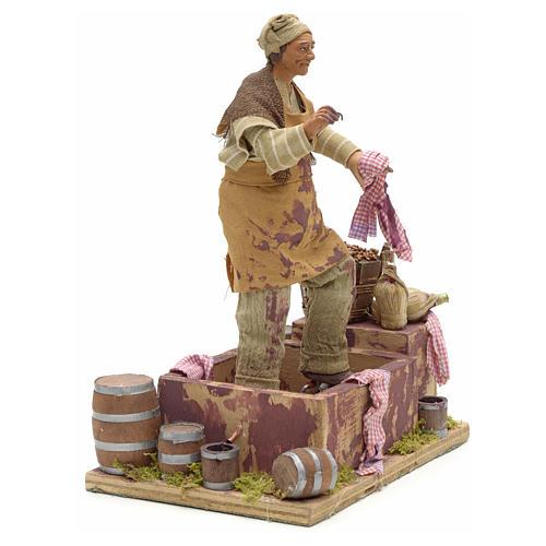 Animated Nativity scene figurine,  grape stomping man 14 cm 12