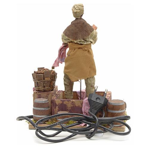Animated Nativity scene figurine,  grape stomping man 14 cm 14