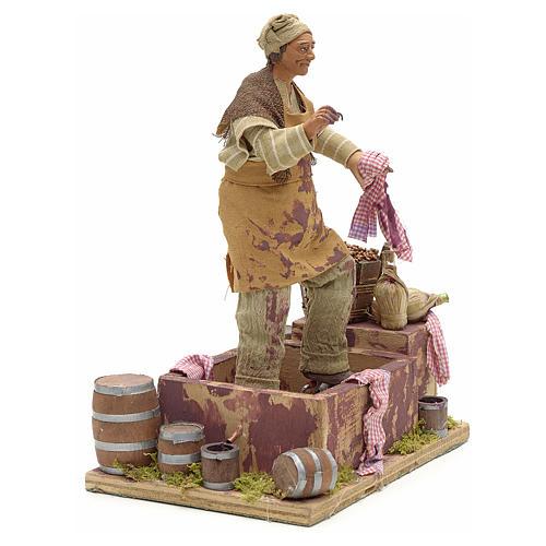 Animated Nativity scene figurine,  grape stomping man 14 cm 3