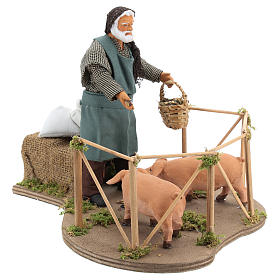 Animated Nativity scene figurine, man feeding pigs 14cm s4