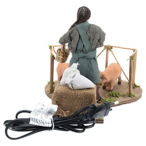 Animated Nativity scene figurine, man feeding pigs 14cm 5