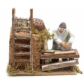 Animated nativity scene figurine, 8 cm carpenter s1
