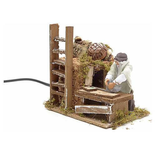 Animated nativity scene figurine, 8 cm carpenter 3