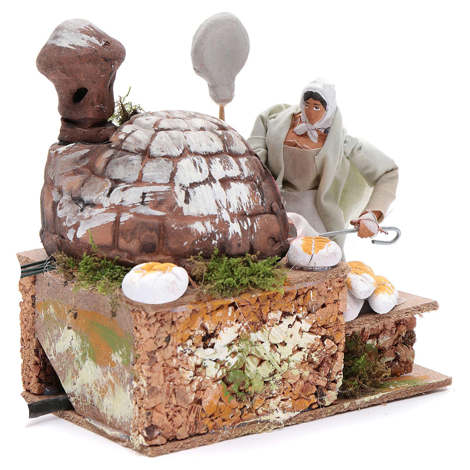Animated nativity scene figurine, 8 cm baker with 2 LED 3