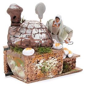 Animated nativity scene figurine, 8 cm baker with 2 LED s3