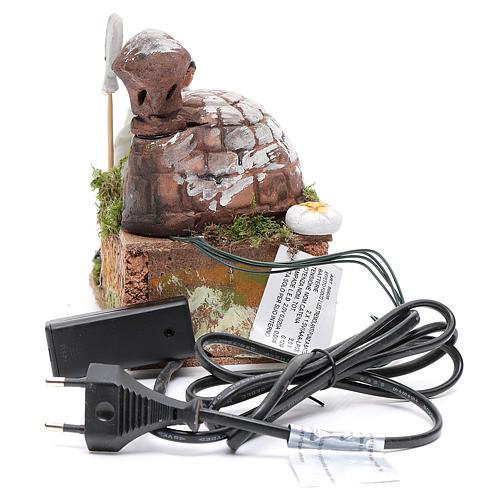 Animated nativity scene figurine, 8 cm baker with 2 LED 4